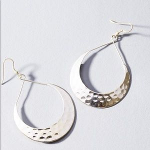 Silver Hammered Crescent Hoop Earrings